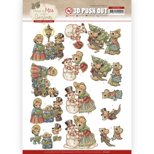 Yvonne Creations, 3D Push Out, Have a Mice Christmas, Christmas Carol- SB10582