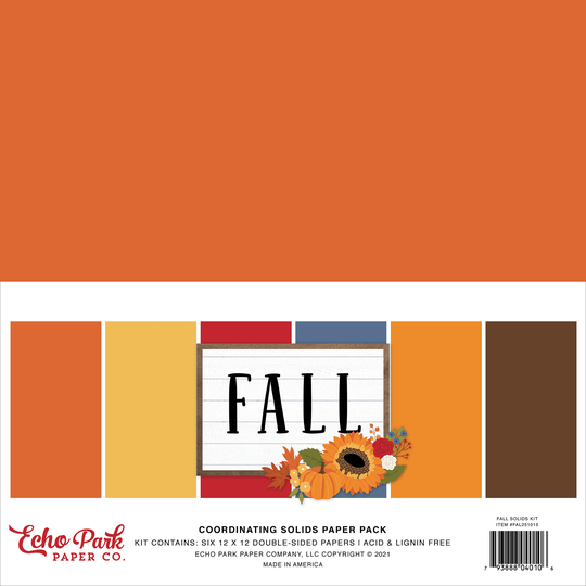 Echo Park, Paperpad, Coordinating Solids, Fall, 12 x 12 inch - FAL251015