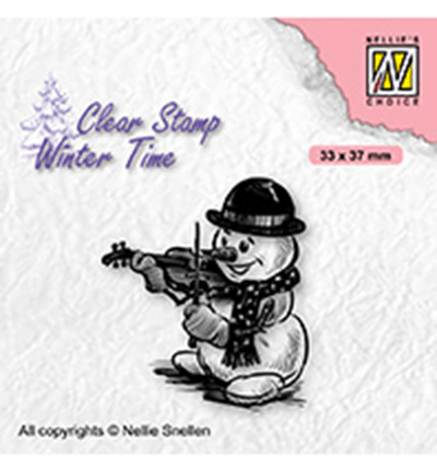 Nellie Snellen, Clear Stamp, Snowman with Violin - WT009