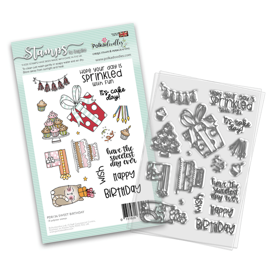 PolkaDoodles, Clear Stamp, Sweet Birthday - PD8136