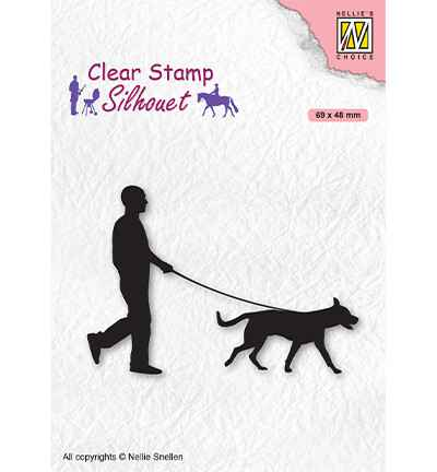 Nellie Snellen, Clear Stamp, Silhouette, Men-Things, Man with dog -  SIL070