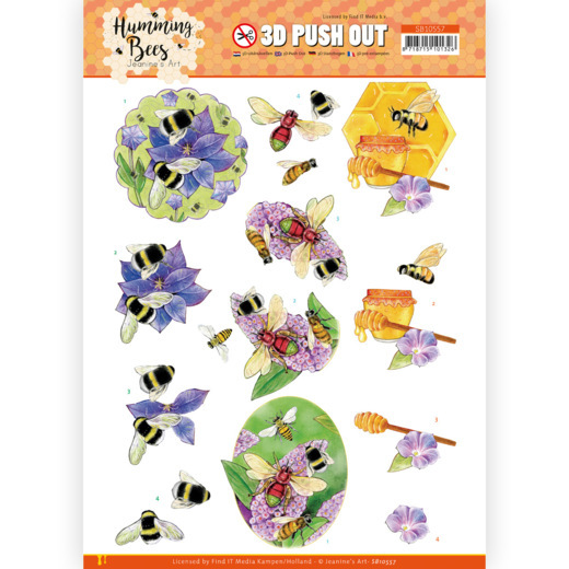 Jeanine's Art, 3D Push Out, Humming Bees, Honey, SB10557