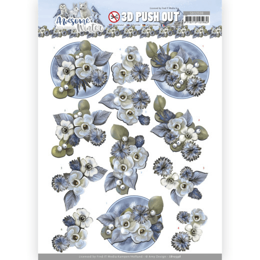 Amy Design, 3D Push Out, Awesome Winter, Winter Flowers - SB10598