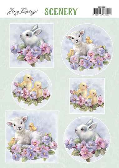 Yvonne Creations, Push Out Scenery, Spring Animals - CDS10021