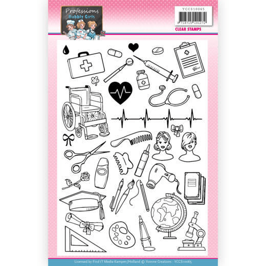Yvonne Creations, Clear Stamp, Bubbly Girls, Professions - YCCS10065