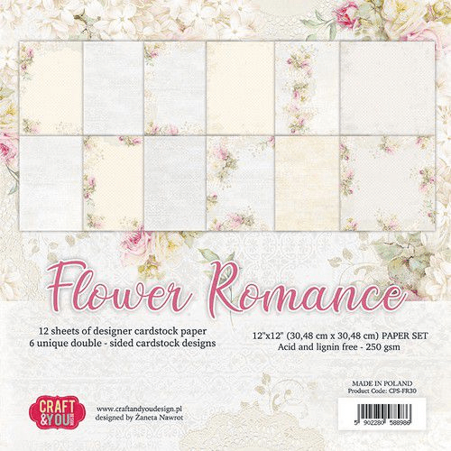 Craft & You , Paperpad, Flower Romance, 12 x 12 inch - CPS-FR30