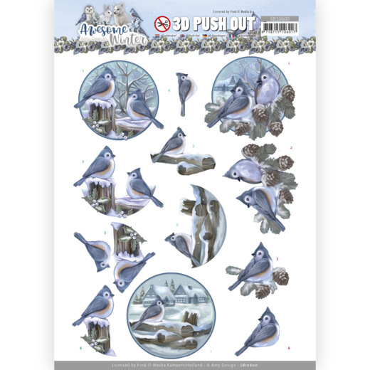 Amy Design, 3D Push Out, Awesome Winter, Winter Birds - SB10600