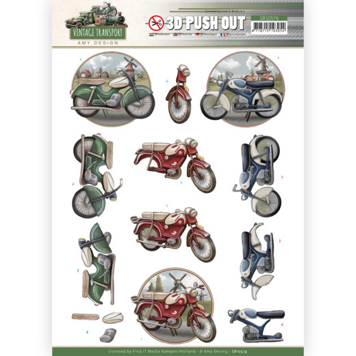 Amy Design, 3D Push Out, Vintage Transport, Moped - SB10574