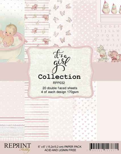 Reprint, Paperpad, It's a Girl Collection, 6x6 inch - RPP032