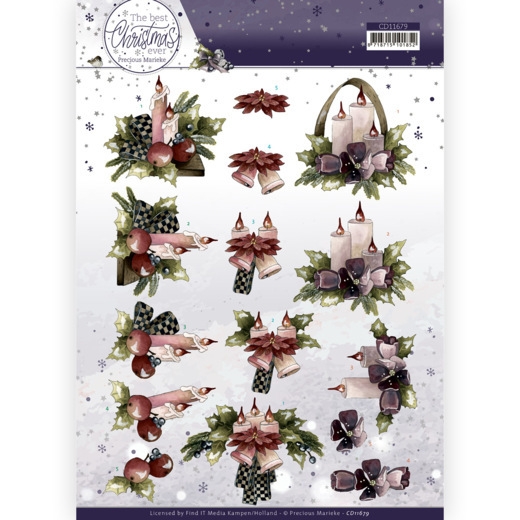 Precious Marieke, 3D Knipvel , The Best Christmas Ever, Purple Flowers and Candles - CD11682