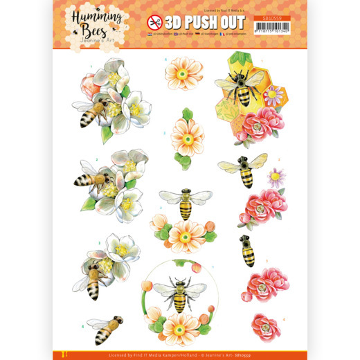 Jeanine's Art, 3D Push Out, Humming Bees, Bee Queen , SB10559