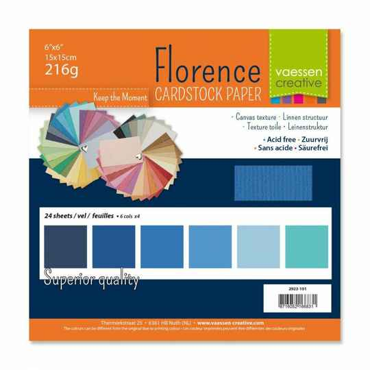 Florence, Cardstock, Texture, Multipack, Blauw - 2923-101