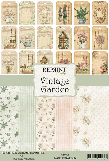 Reprint, Paperpad, Vintage Garden Collection, A4 formaat - RPB008