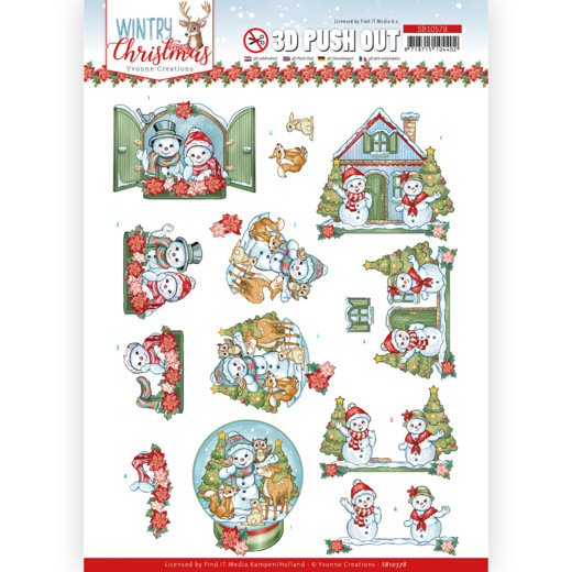 Yvonne Creations, 3D Push Out, Wintry Christmas, Christmas Home- SB10578