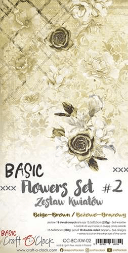 Craft o Clock, Paperpad, Basic Flowers Set 2, Beige-Brown , Extra's to Cut, 15,5 x 30,5 cm