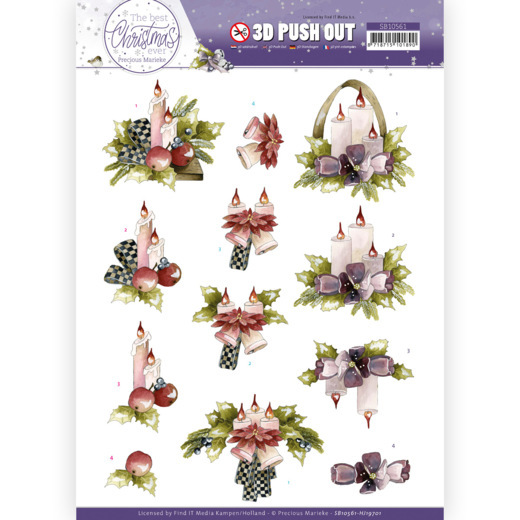 Precious Marieke, 3D Push Out , The Best Christmas Ever, Purple Flowers and Candles - SB10561