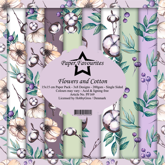 Paper Favourites, Paperpad, Flowers and Cotton , 6x6 inch - PF169
