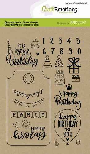 CraftEmotions, Clear Stamp, Birthday - 130501/2504