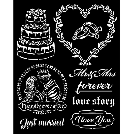 Stamperia, Thick Stencil, Sleeping Beauty, Just Married - KSTD080