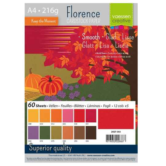 Florence, Cardstock Smooth, Autumn , A4, 60 vel - 2927-303