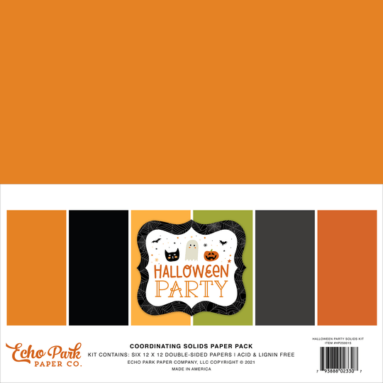 Echo Park, Paperpad, Coordinating Solids, Halloween Party, 12 x 12 inch -HPA250015