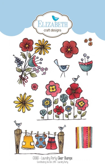 Elizabeth Craft Design, Clear Stamp, Laundry Party - CS083