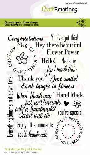 CraftEmotions, Clear Stamp, Carla Creaties, Bugs & Flowers, Tekst - 130501/1698