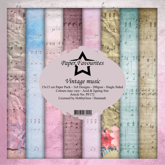Paper Favourites, Paperpad, Vintage Music , 6x6 inch - PF172
