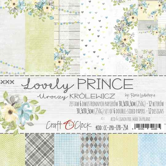 Craft O Clock, Paperpad, Lovely Prince , 30,5 x 30,5 cm
