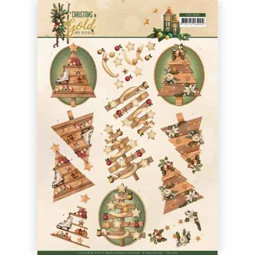 Amy Design, 3D Knipvel, Christmas in Gold, Trees in Gold - CD11360