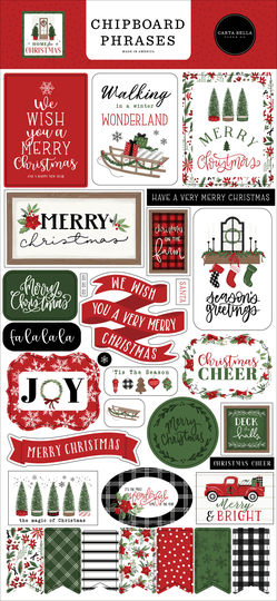 Carta Bella, Chipboard Phrases, Home for Christmas - CBHFC139022