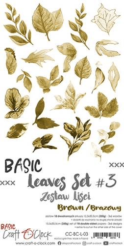 Craft o Clock, Paperpad, Basic Leaves Set 3, Brown , Extra's to Cut, 15,5 x 30,5 cm