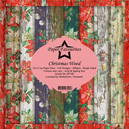 Paper Favourites, Paperpad, Christmas Wood , 6x6 inch - PF180