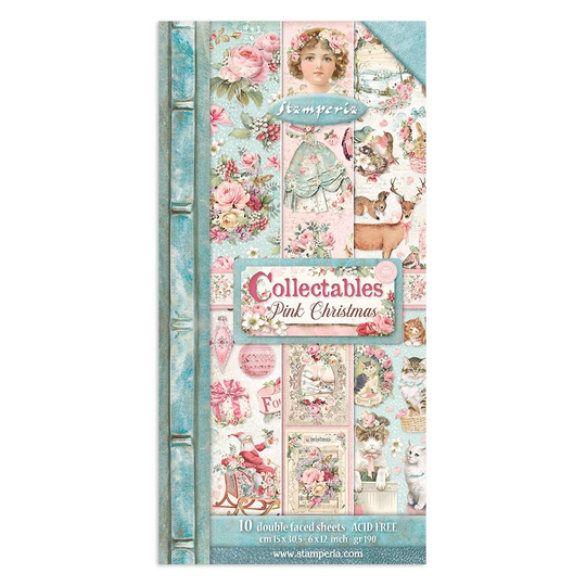 Stamperia, Paperpad, Collectables, Pink Christmas , 6x12 inch - SBBV09