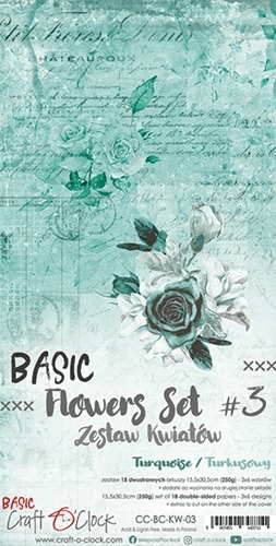 Craft o Clock, Paperpad, Basic Flowers Set 3, Turquoise, Extra's to Cut, 15,5 x 30,5 cm