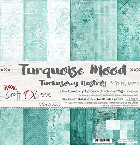 Craft O Clock, Paperpad, Turquoise Mood , 30,5 x 30,5 cm
