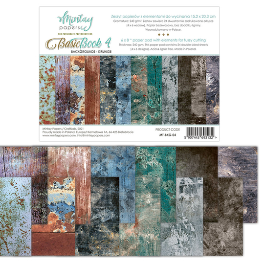 Mintay, Basic Book, Backgrounds, Grunge, 6x8 inch - MT-BKG-04