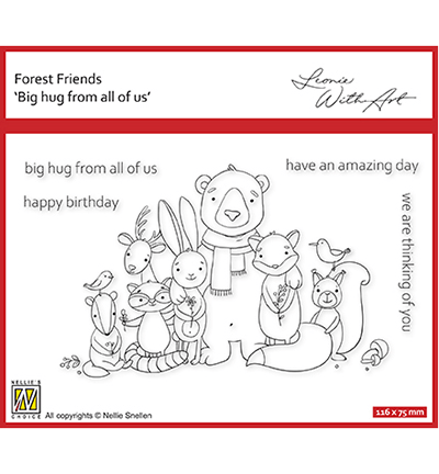 Nellie Snellen, Clear Stamp, Forest Friends, Set 2: Big hug from all of us - FFECS002