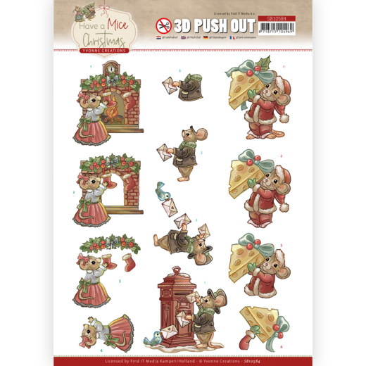 Yvonne Creations, 3D Push Out, Have a Mice Christmas, Christmas Cards - SB10584