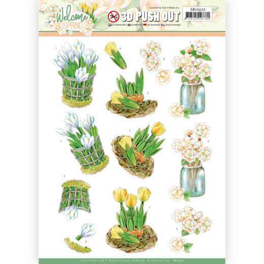 Jeanine's Art, 3D Push Out, Welcome Spring, Yellow Tulips - SB10527