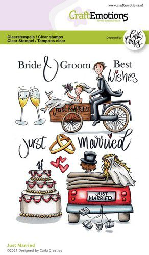 CraftEmotions, Clear Stamp, Carla Creaties, Just Married - 130501/1699