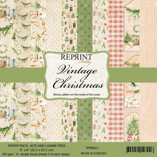 Reprint, Paperpad, Vintage Christmas, 8x8 inch - RPM021