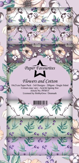 Paper Favourites, Slimline Paperpad, Flowers and Cotton - PFS015