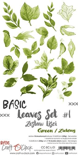 Craft o Clock, Paperpad, Basic Leaves Set 1, Green , Extra's to Cut, 15,5 x 30,5 cm