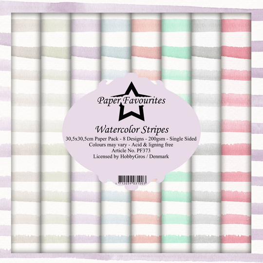 Paper Favourites, Paperpad, Watercolor Stripes , 12x12 inch - PF373