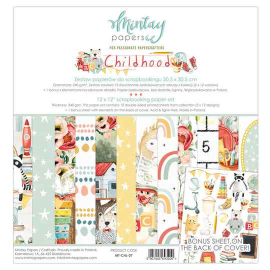 Mintay, Scrapbook paperpad, Childhood , 12x12 inch - MT-CHL-07