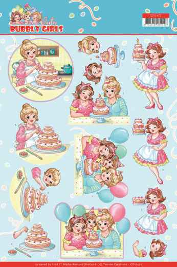 Yvonne Creations, 3D Knipvel, Bubbly Girls Party, Baking - CD11477
