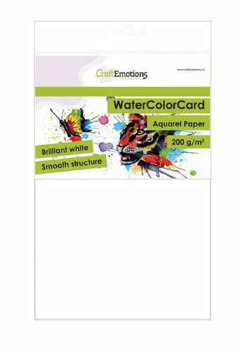 CraftEmotions, WaterColorCard, Smooth, Briljant Wit, A5, 200 grams - 001286/3320