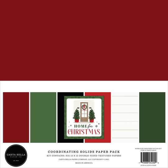 Carta Bella, Paperpad, Coordinating Solids, Home for Christmas, 12x12 inch - CBHFC139015