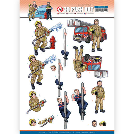 Yvonne Creations , 3D Push Out, Big Guys, Professions, Fire Department - SB10553